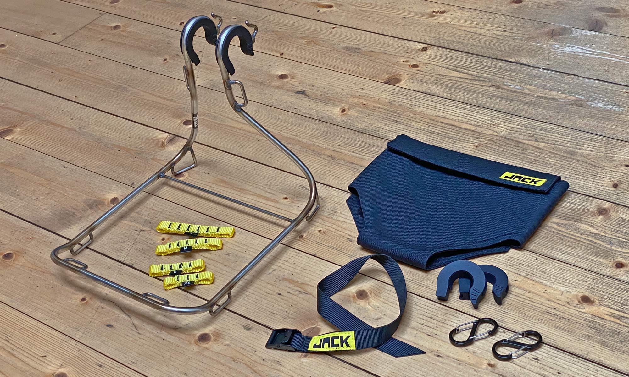 Jack The Bike Rack evrensel uyumlu aletsiz çelik boru kayışlı ön raf, seçenekler