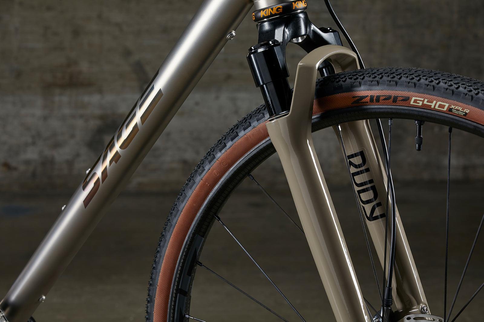 rockshox rudy gravel suspension fork on new sage storm king ti bike