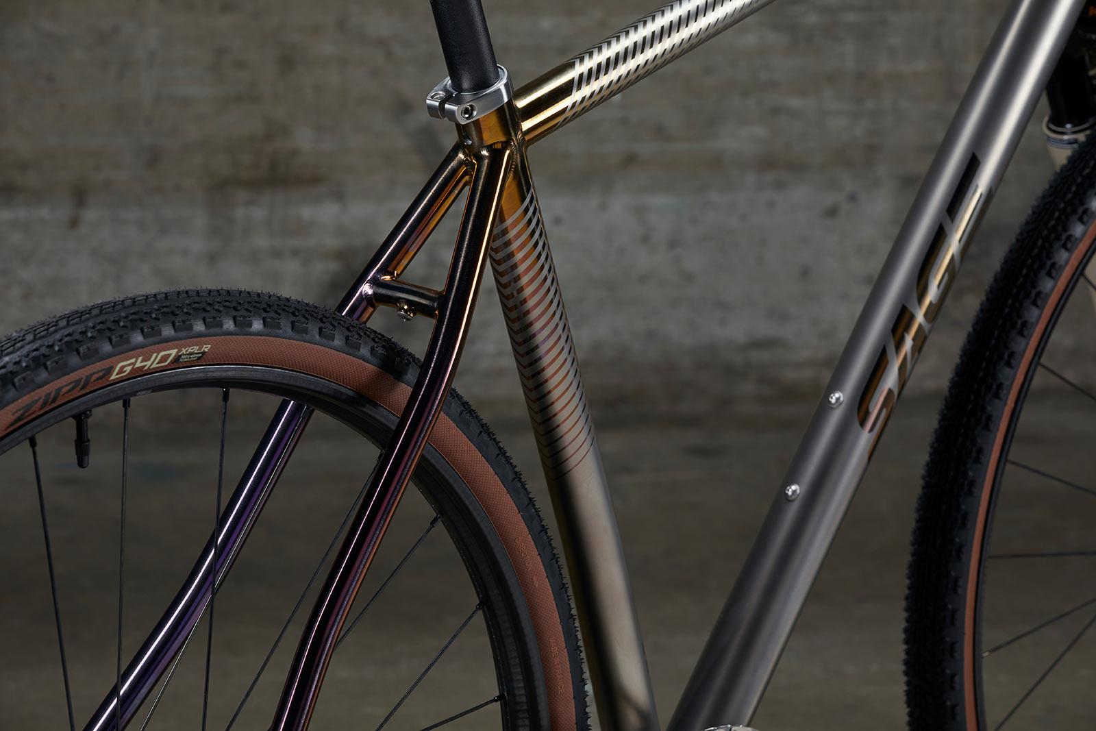 frame details on titanium sage storm king gravel bike