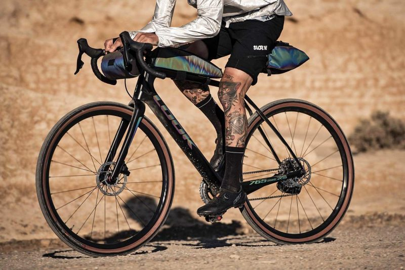 Look X Restrap limited edition iridescent Look 765 Gravel RS bike frameset & Limited Run bikepacking bags,riding