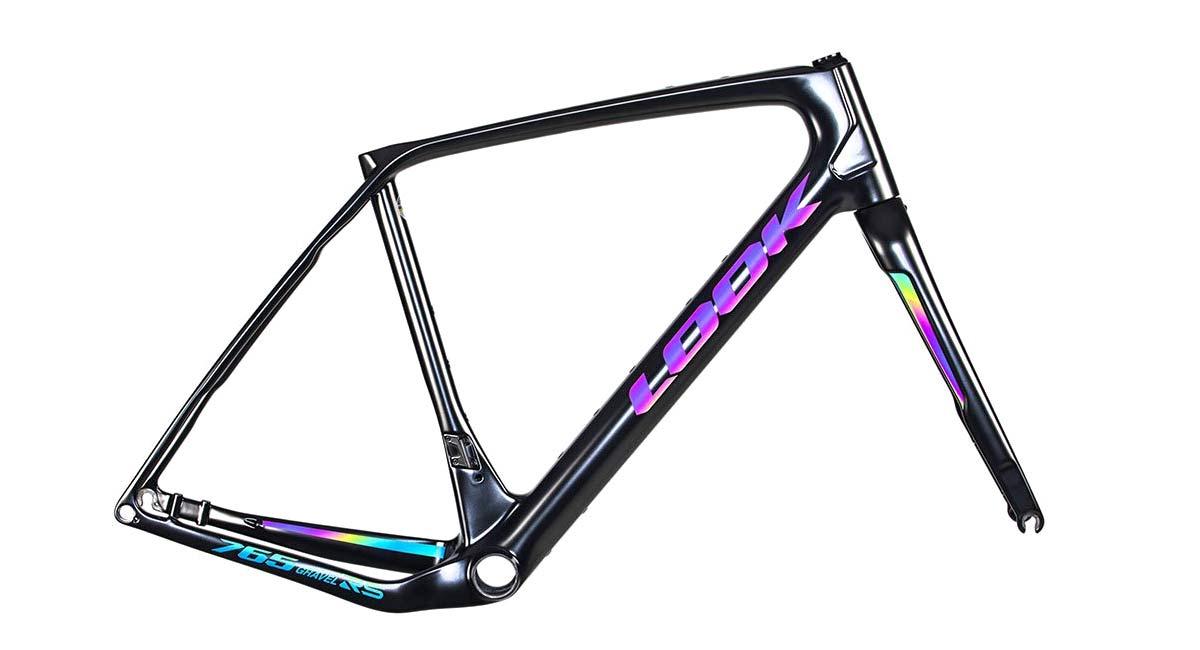 Look X Restrap limited edition iridescent Look 765 Gravel RS bike frameset & Limited Run bikepacking bags,