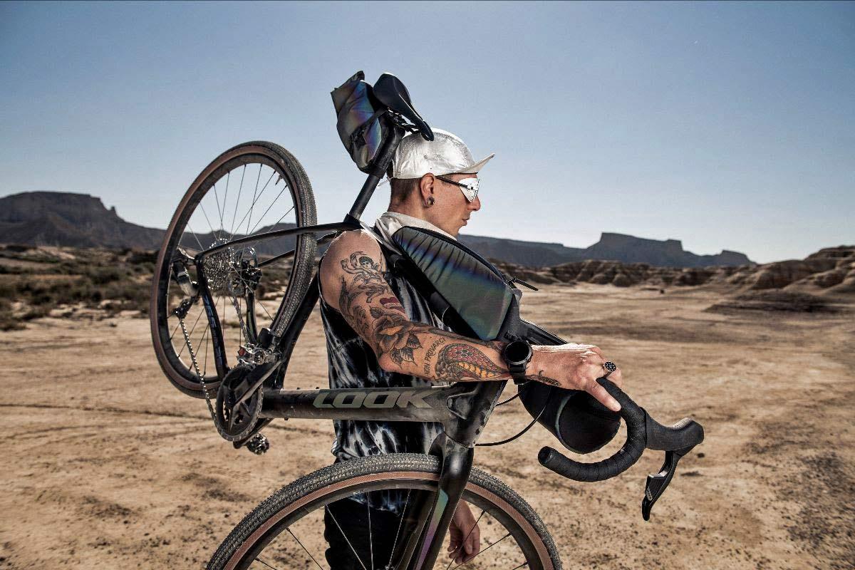 Look X Restrap limited edition iridescent Look 765 Gravel RS bike frameset & Limited Run bikepacking bags,subtle