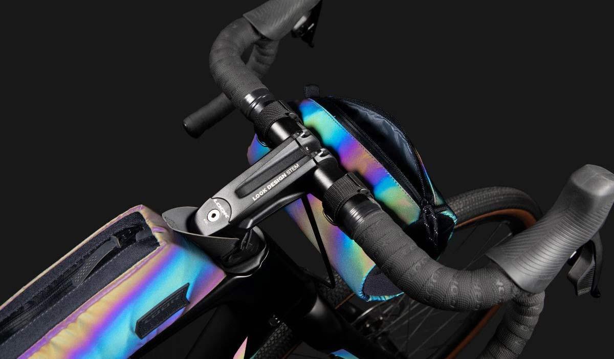 Look X Restrap limited edition iridescent Look 765 Gravel RS bike frameset & Limited Run bikepacking bags,hi-viz