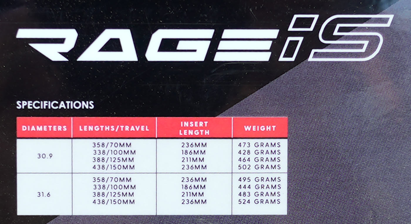 טבלת מפרטים ומשקלים עבור מוט קידום מושב טיפה KS rage iS לאופני חצץ