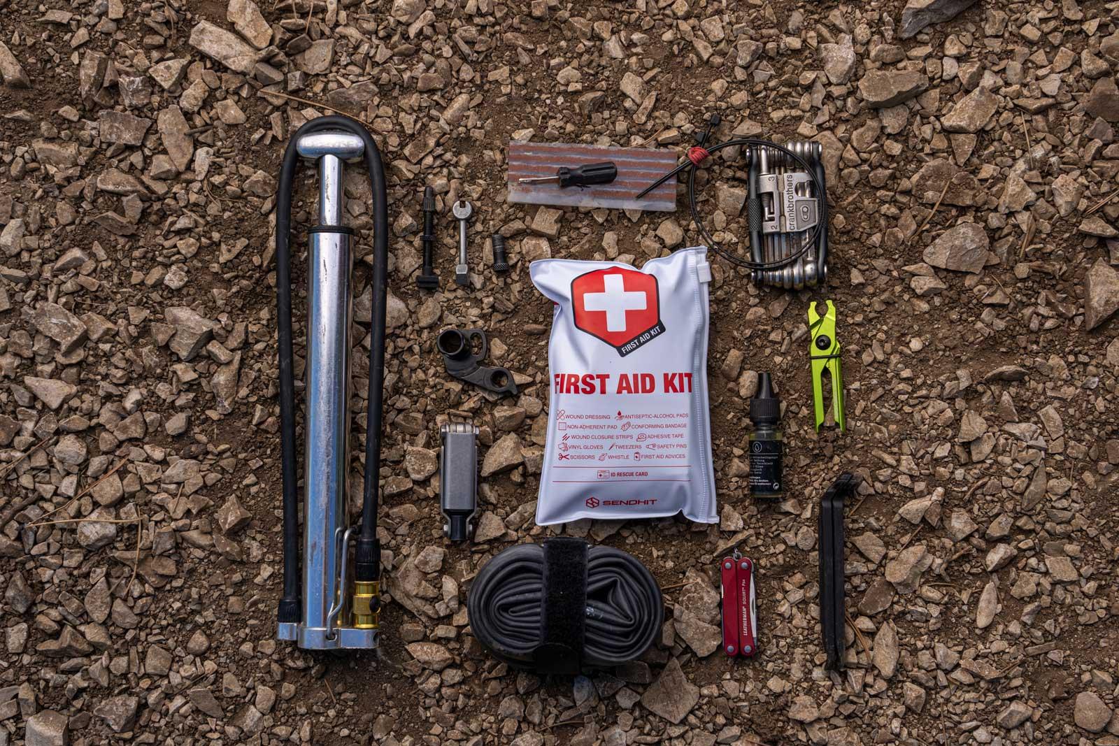 sendit mtb first aid kit plus trailside repair tools