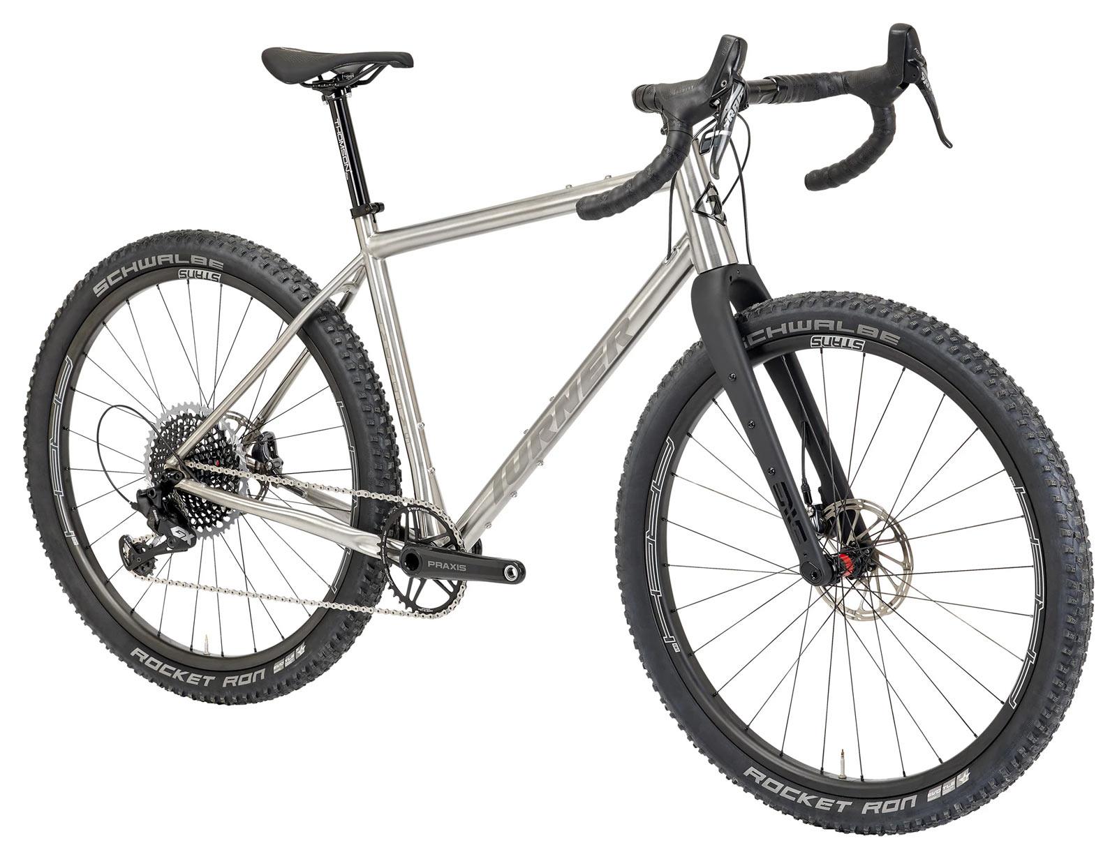 front angle view of 2022 turner cyclosys titanium gravel bike