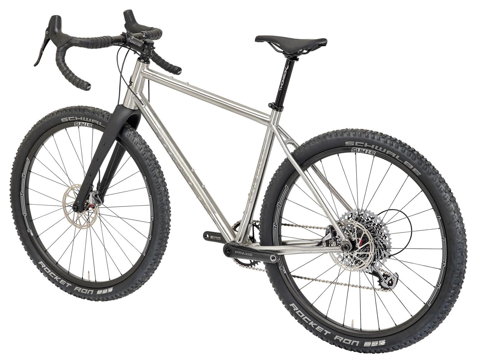 non drive side view of 2022 turner cyclosys titanium gravel bike