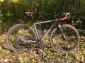 bikerumor pic of the day a grey colored bicycle with red seat and handlebars is posed near the woods where the leaves have turned their fall colors and some have fallen to the ground