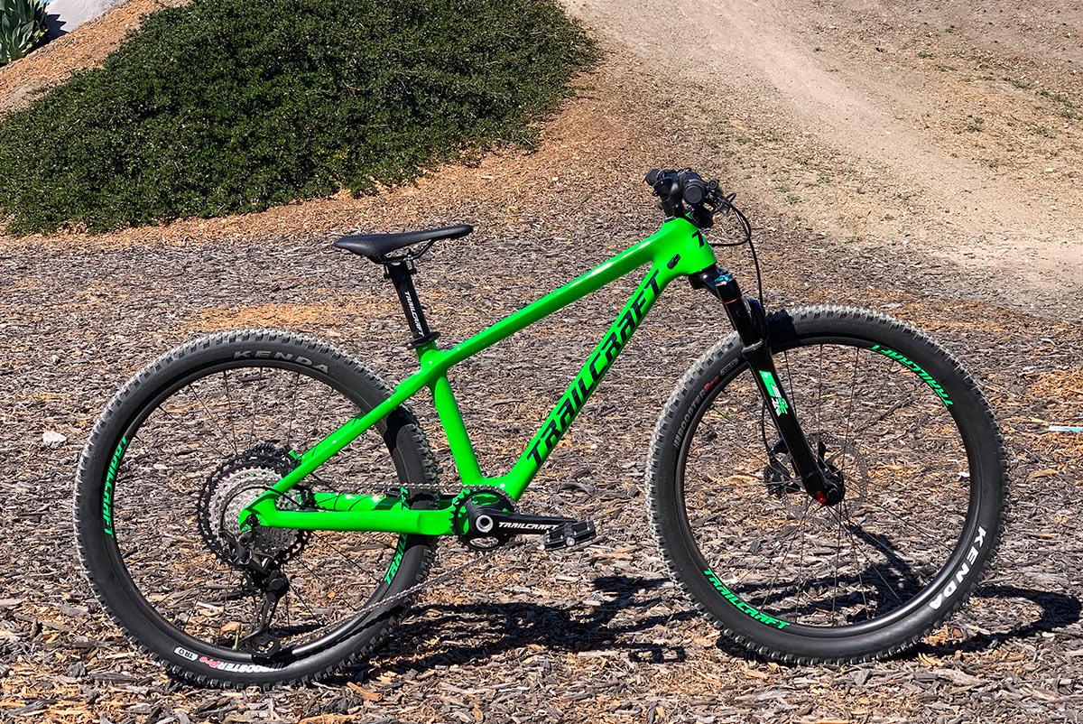 trailcraft pineridge carbon fiber kids mountain bike shown in green