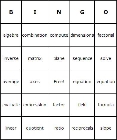 Algebra Bingo Cards