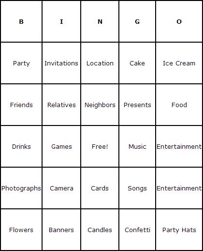 Birthday Parties Bingo Cards