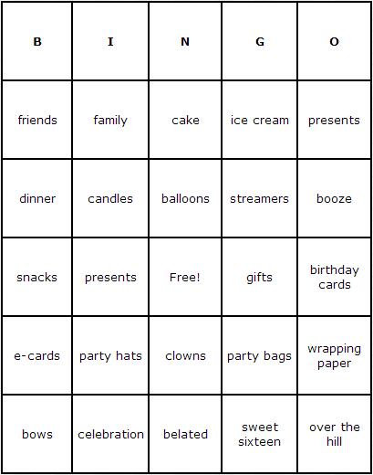 Birthdays Bingo Cards