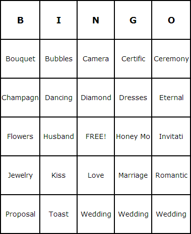 Bridal Shower Bingo Cards Bingo Card Generator