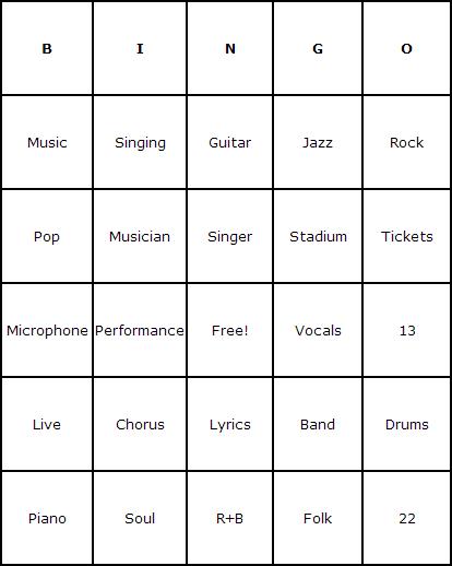 Concert Bingo Cards