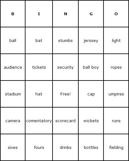 Cricket Bingo Cards