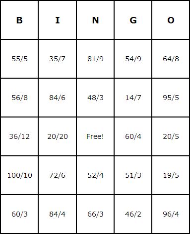 Division Bingo Cards