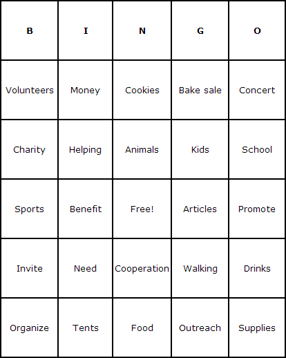 Fundraiser Bingo Cards