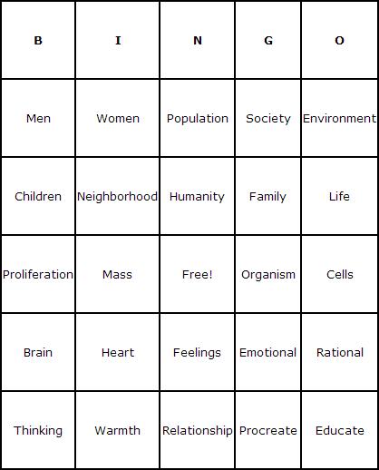 Humans Bingo Cards - Bingo Card Generator