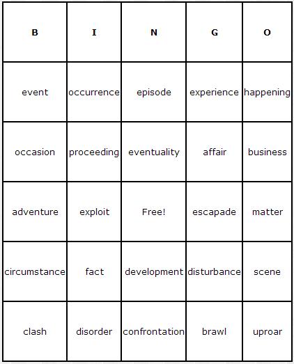 Incidents Bingo Cards