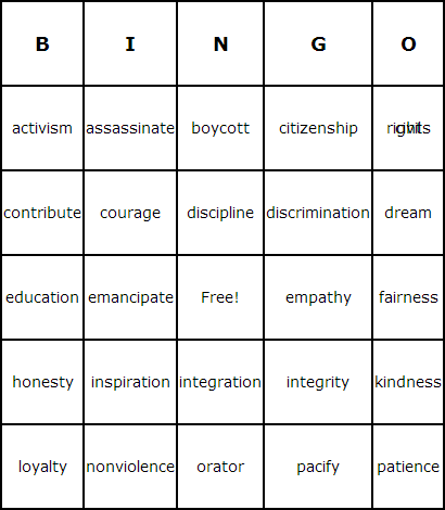 Martin Luther King Day Bingo Cards