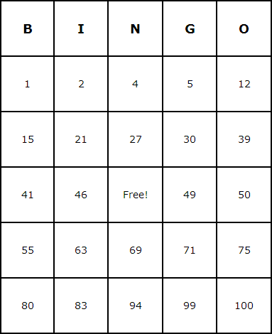 Number Bingo Cards