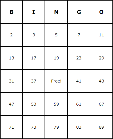 Prime Numbers Bingo Cards