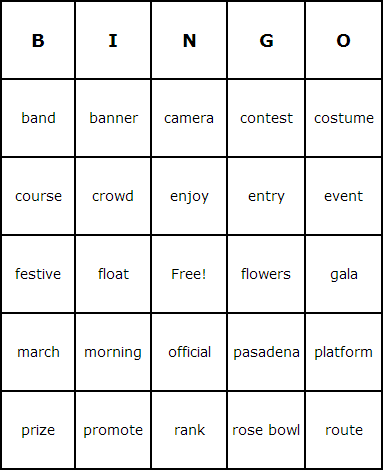 Tournament of Roses Parade Bingo Cards