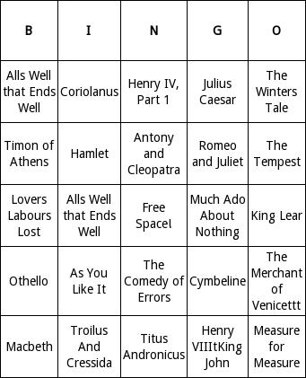 William Shakespeare Bingo Cards - Bingo Card Generator