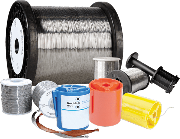 Various spools and packages of Brookfield annealed stainless steel wire