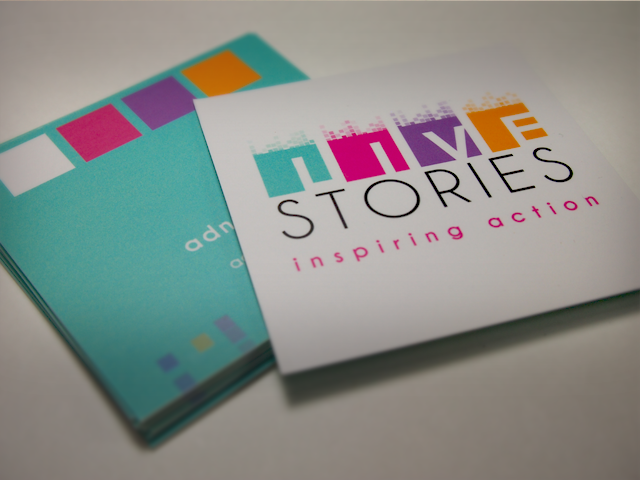 Live stories inspiring actions business card