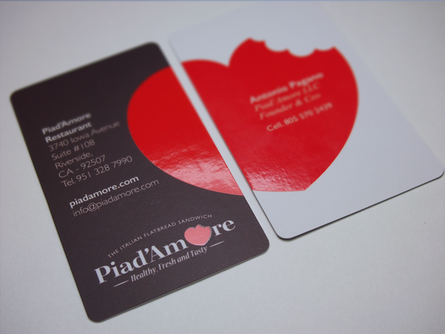 Piad'amore Spot UV business cards with round corners