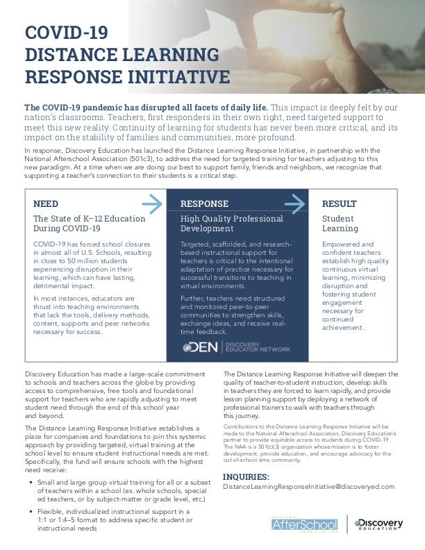 DE and NAA Distance Learning Response Initiative Preview