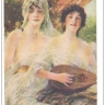 Two women, one playing the mandolin, PU-1908