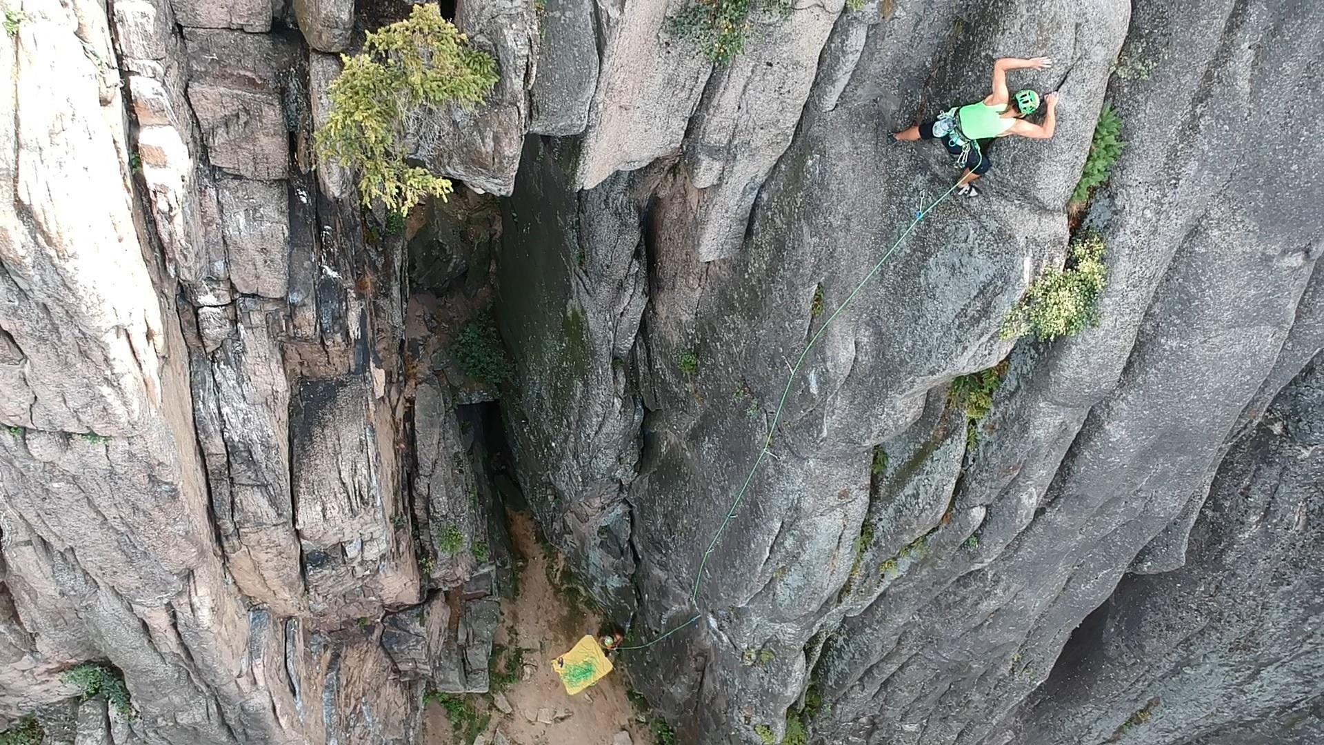 Adam Bieecki sport climbing at a local crag in Poland