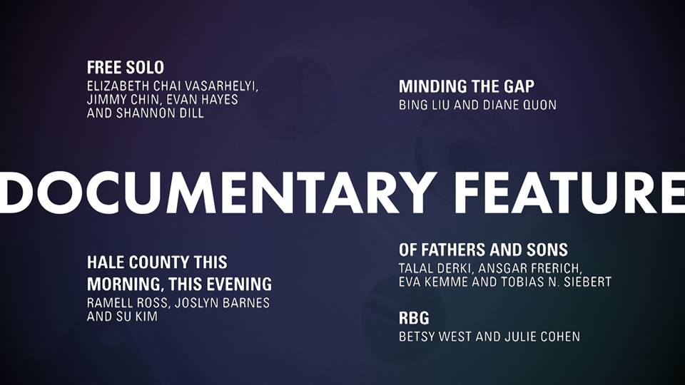 """Nomination of Chimmy Chin's """"Free Solo"""" film for the Academy Awards 2019 announced on Orcars.com"""