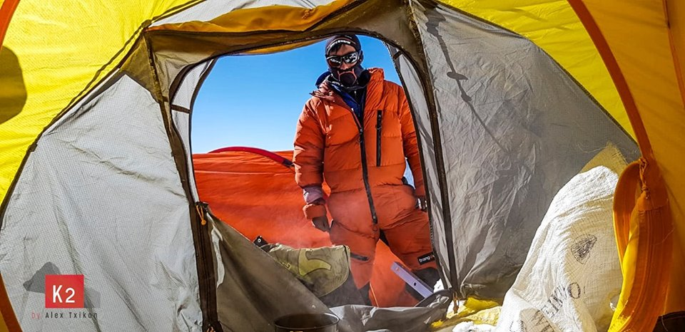 Member in Alex Txikon team in a higher camp on winter K2