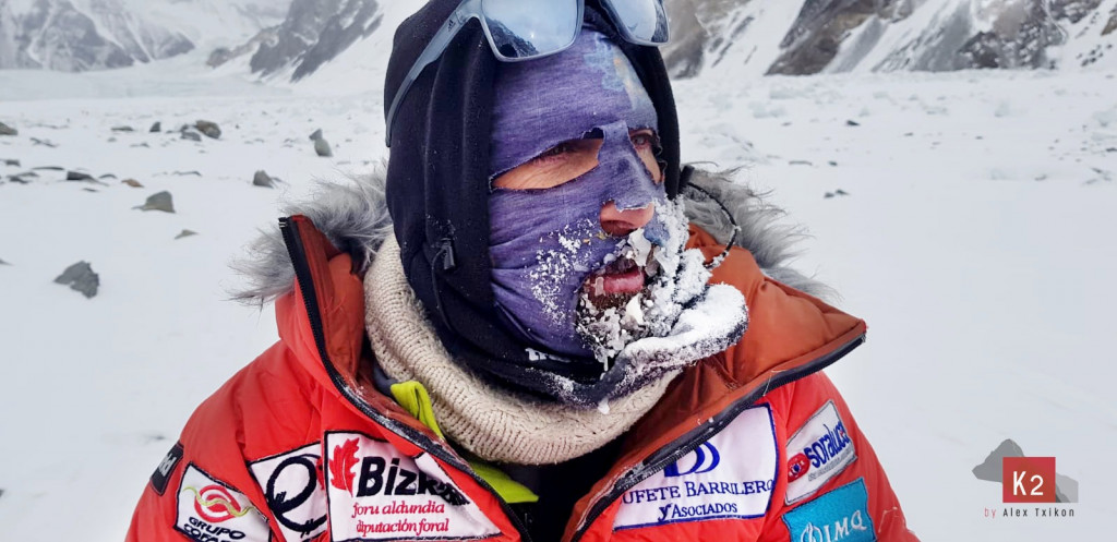 Spanish climber Alex Txikon in winter K2 base Camp, February, 2019