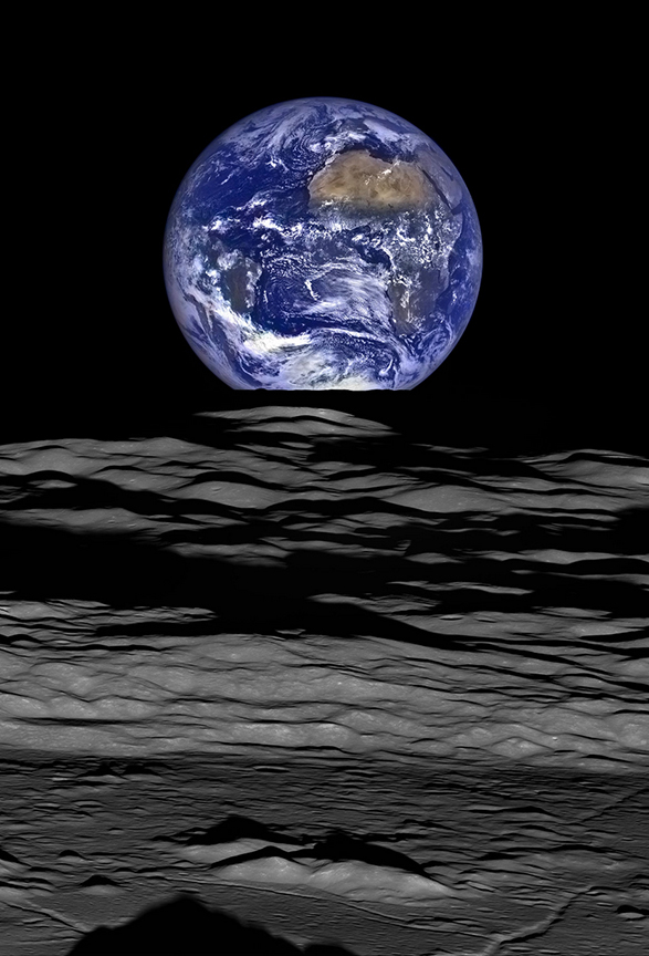 Earth rising over the lunar surface