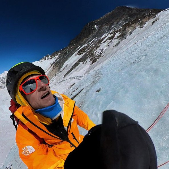 Climber on an icy slope