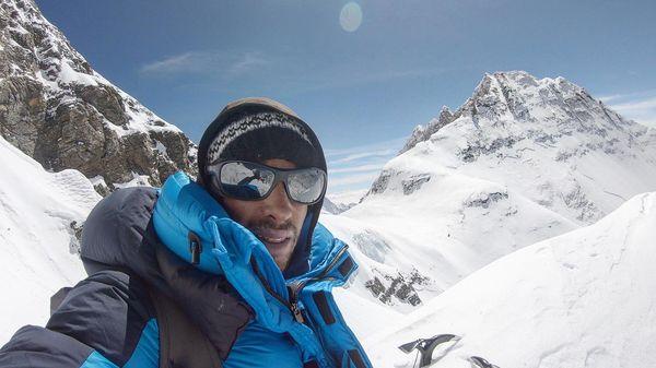 Kilian Jornet selfie on snowy mountain