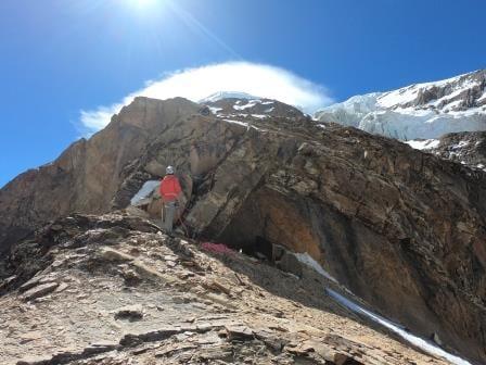 Climber on bare rock ridge, Dhaulagiri.
