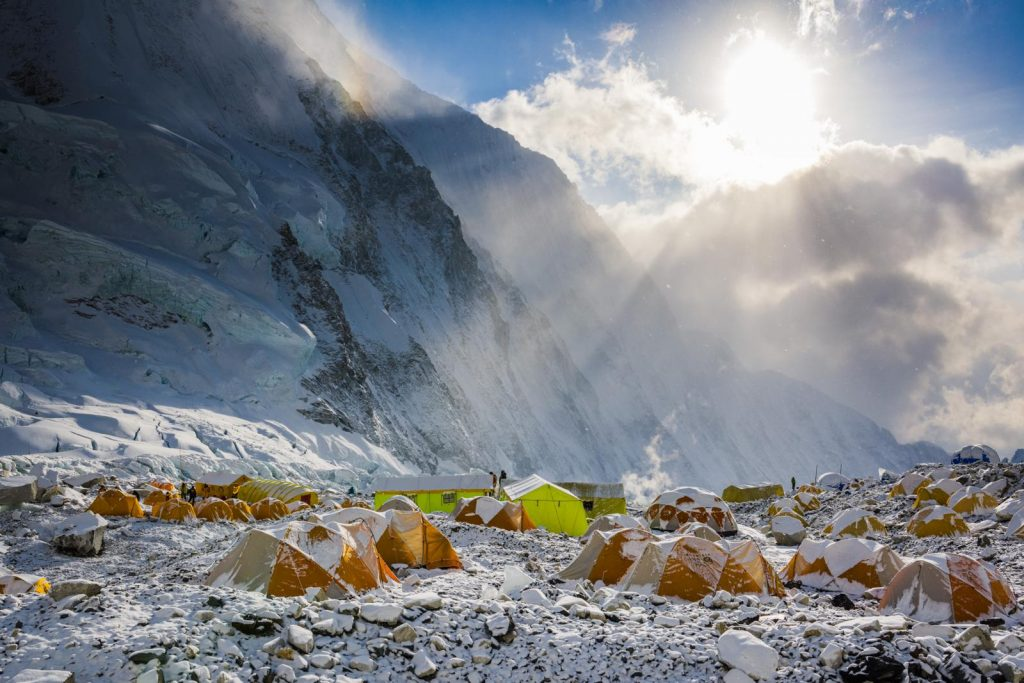 The Western Cwm on Everest, with a sea of tents