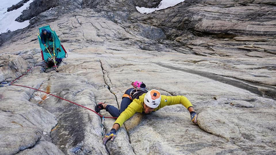 The crux pitch on Forum (7c), Greenland Aug. 2021. Photo: Bordello, Schupback, and Welfringer