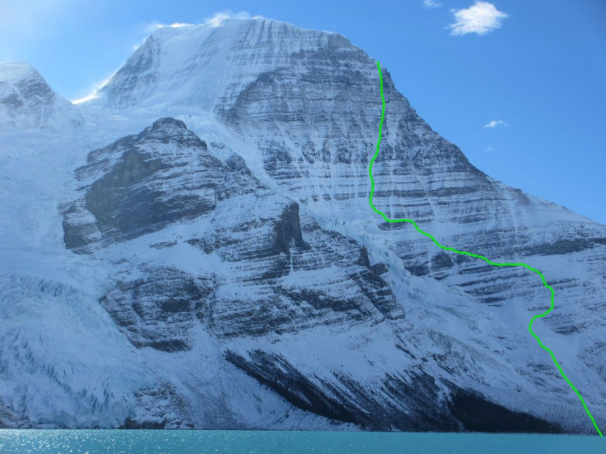Running in the Shadows route on Mt Robson