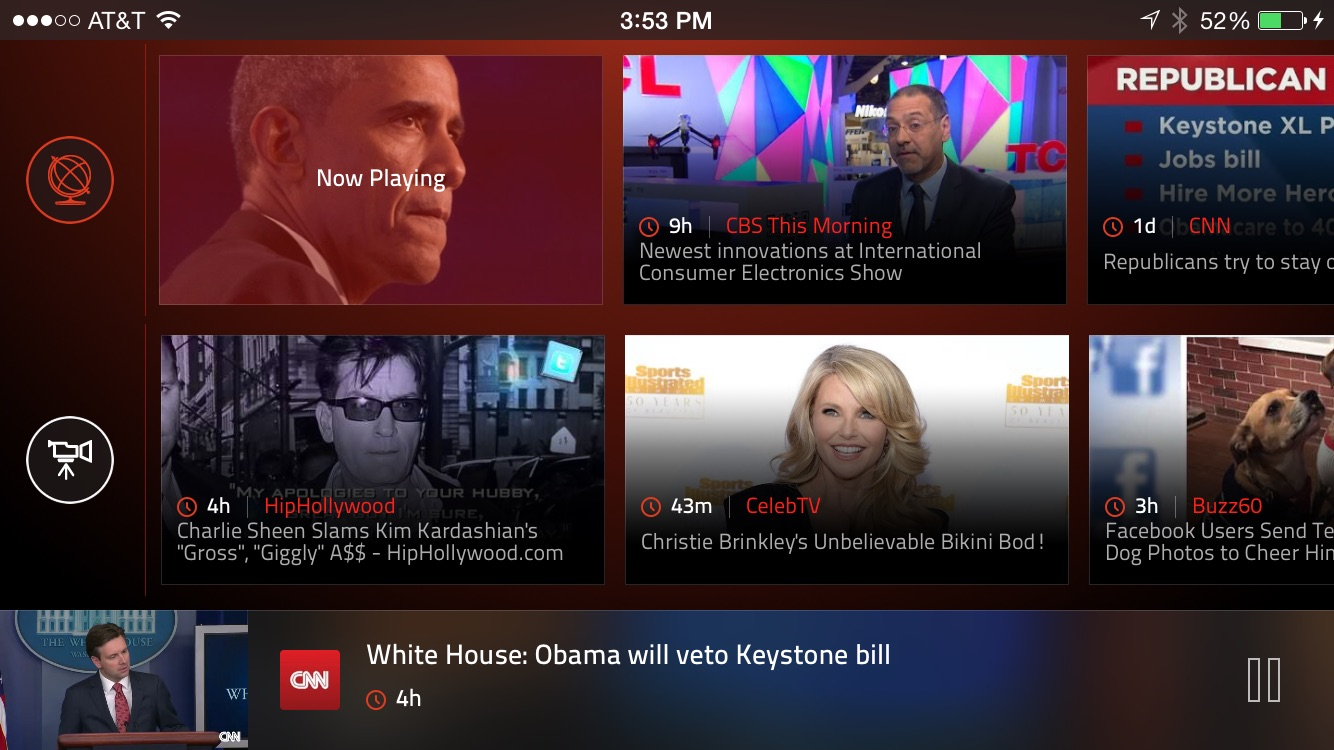 Haystack TV for iPhone in Grid View