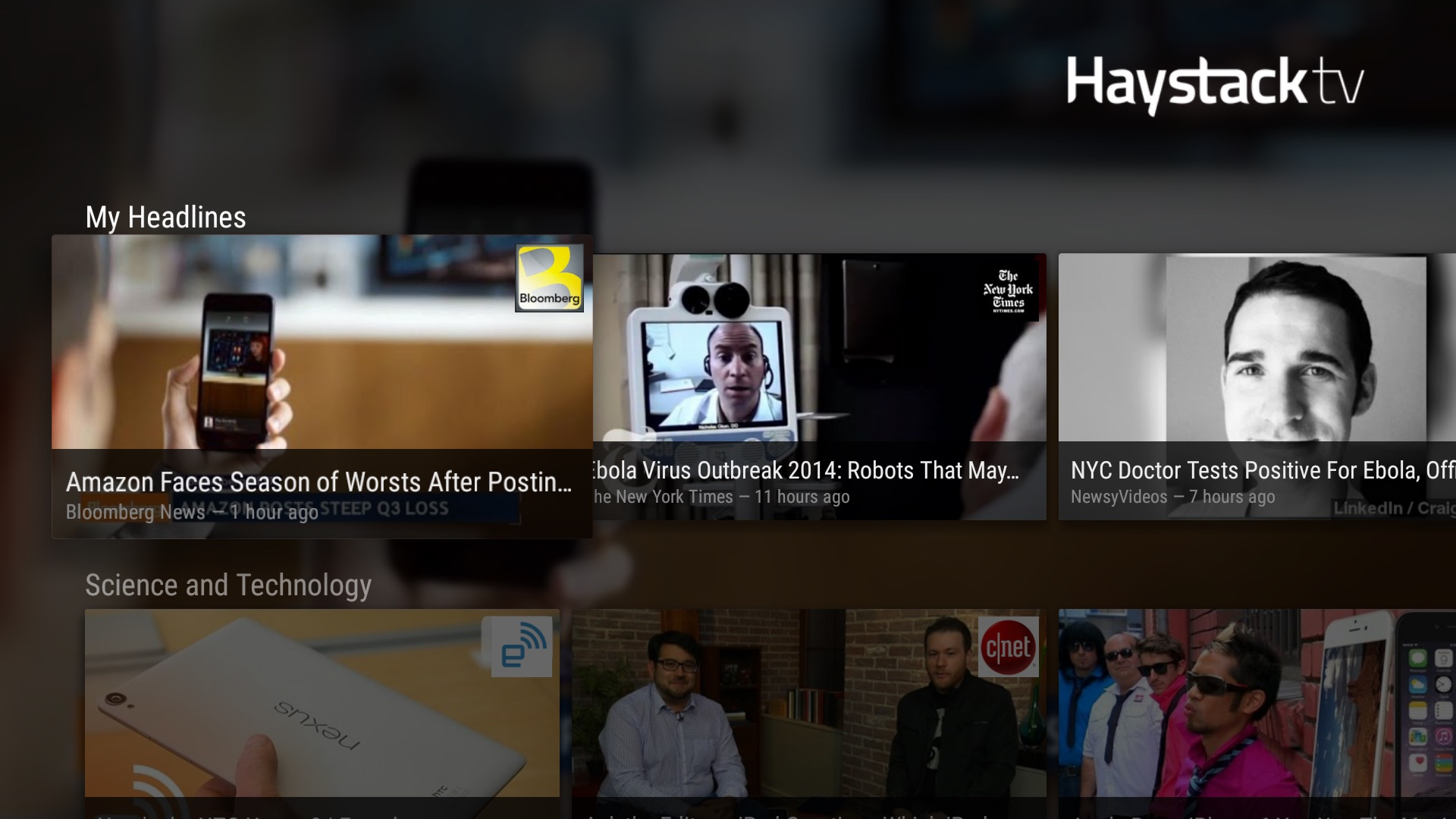 Haystack TV on Nexus Player