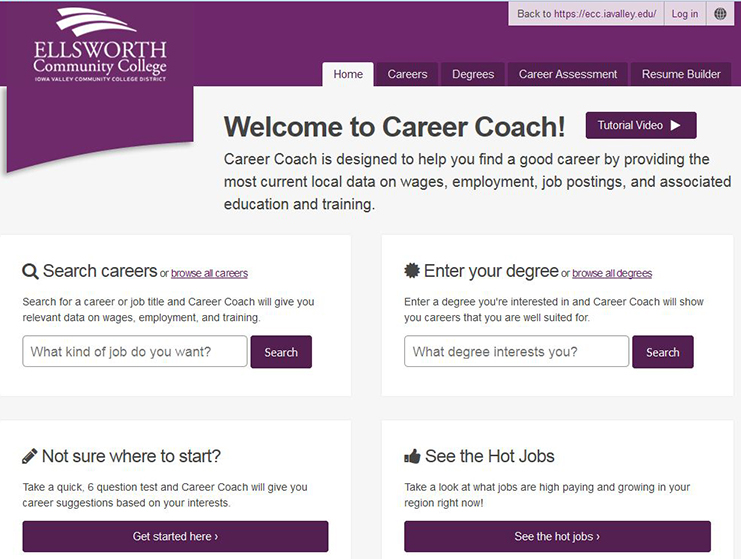 ECC Career Coach website