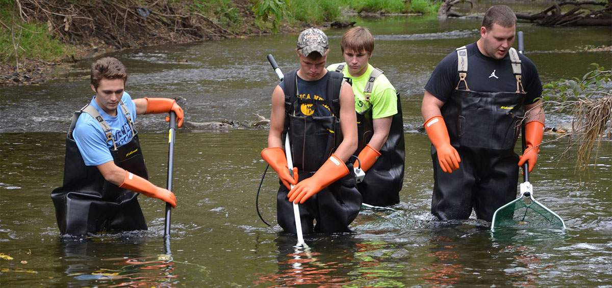 ECC students catching fish in nets in river