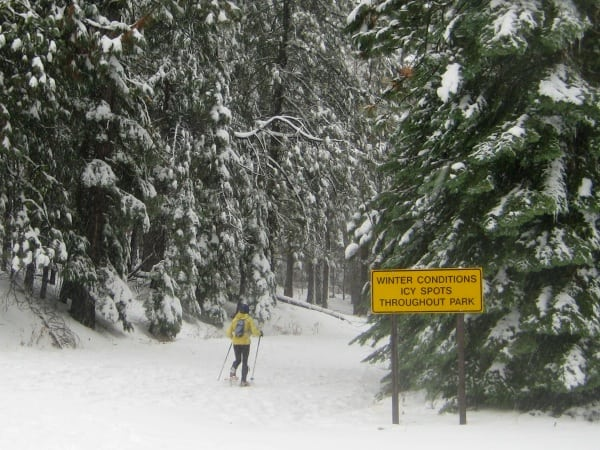 Yosemite winter conditions sign