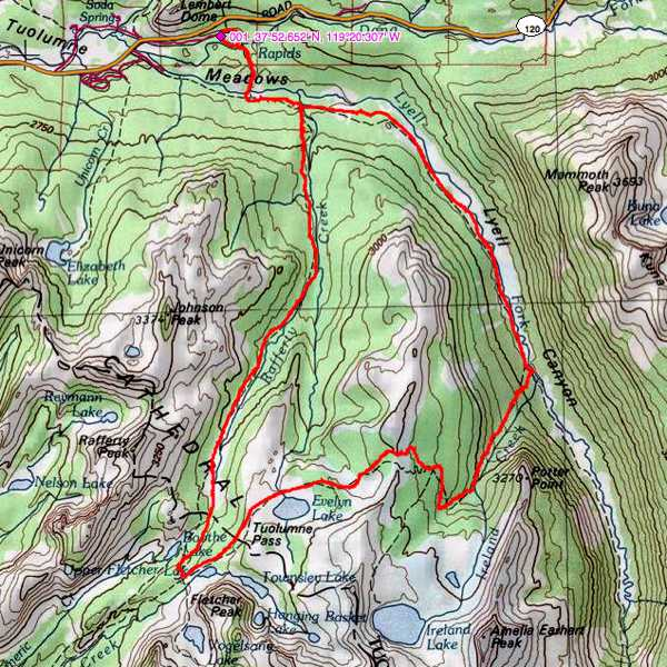 Tuolumne Vogelsang Lyell Canyon trail map